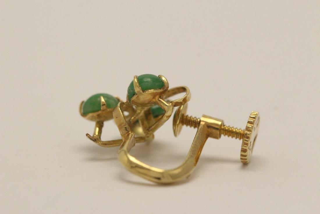 Pair 14K Y/G jadeite earrings - 9