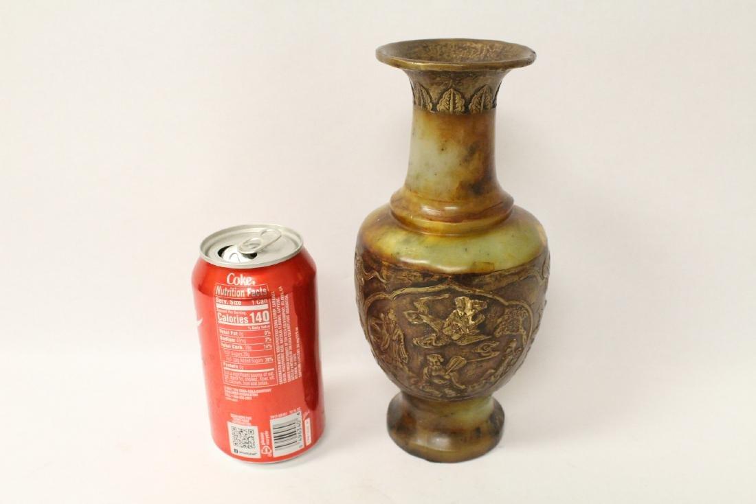 Chinese bronze and shoushan stone vase - 10