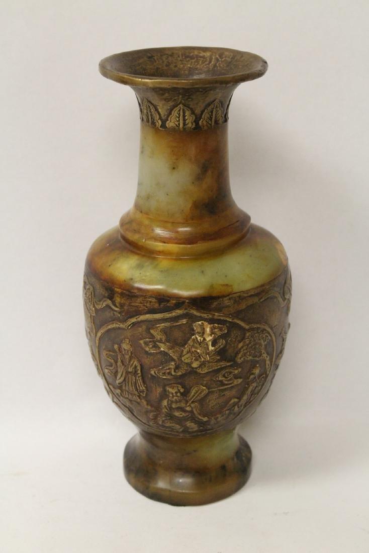 Chinese bronze and shoushan stone vase