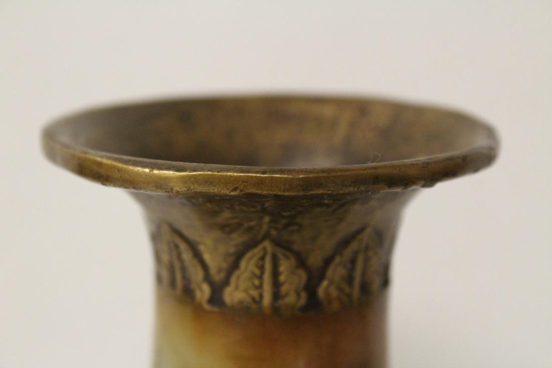 Chinese bronze and shoushan stone vase - 8