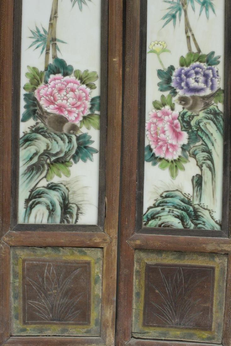 Pr Chinese framed famille rose porcelain plaques - 10