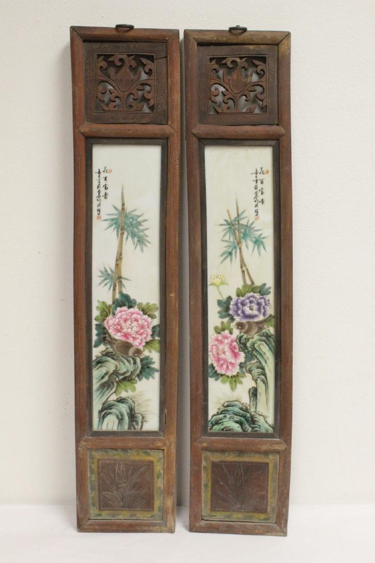 Pr Chinese framed famille rose porcelain plaques