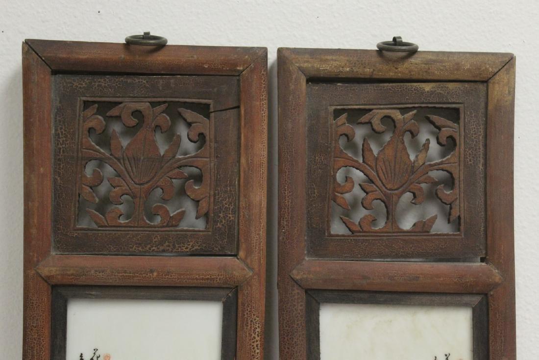 Pr Chinese framed famille rose porcelain plaques - 2