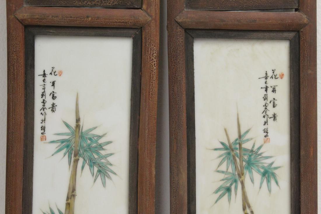 Pr Chinese framed famille rose porcelain plaques - 3