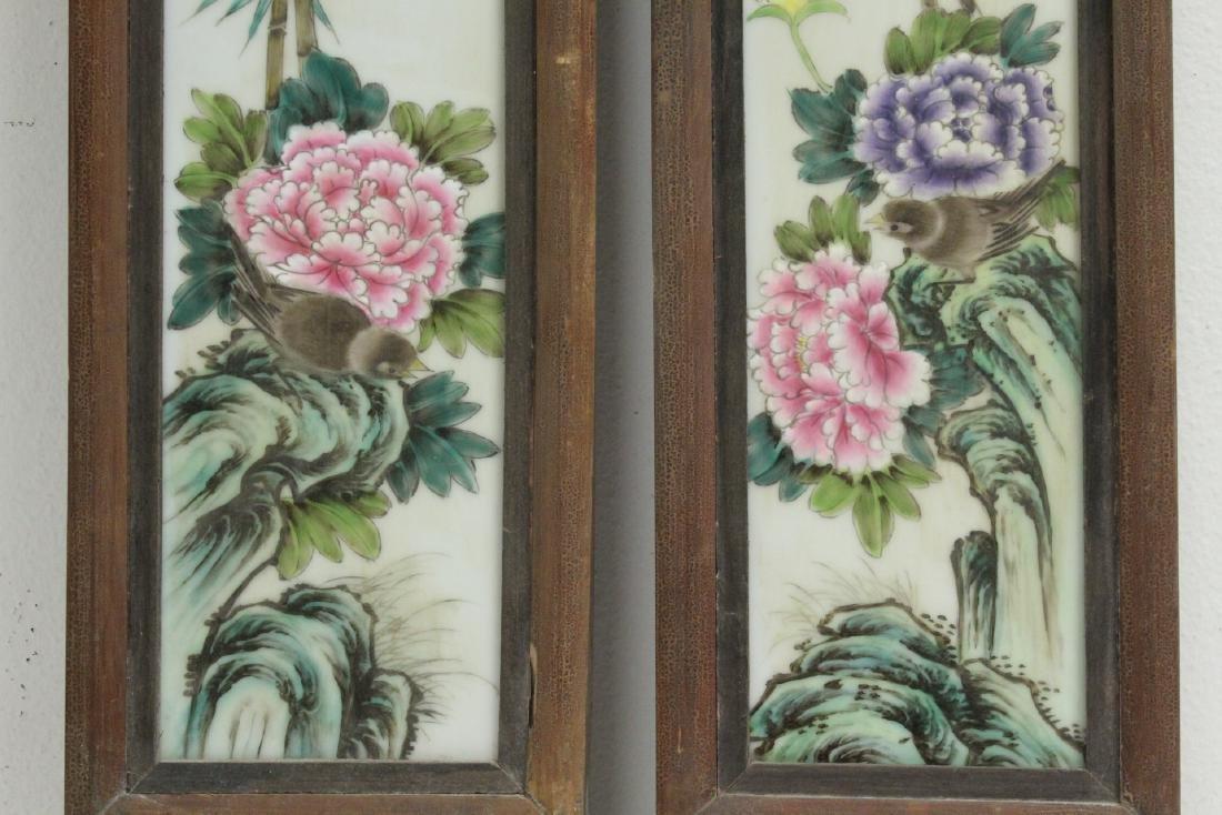 Pr Chinese framed famille rose porcelain plaques - 5