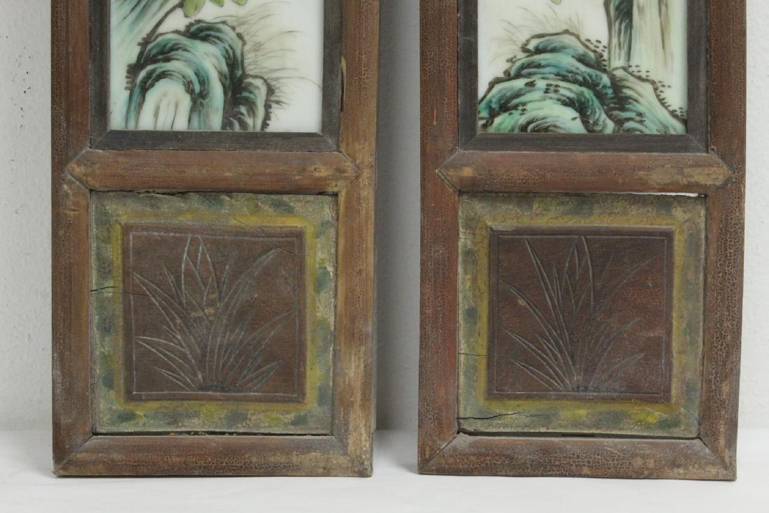 Pr Chinese framed famille rose porcelain plaques - 6