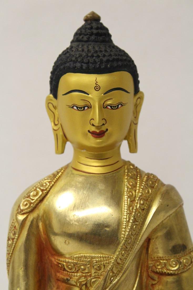 A gilt bronze sculpture of seated Buddha - 5