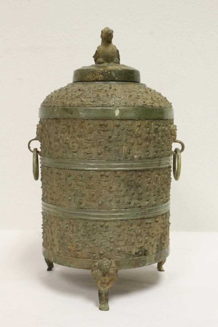 Chinese bronze handled round covered censer