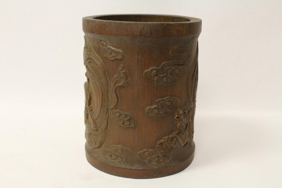 Bamboo carved brush holder - 4