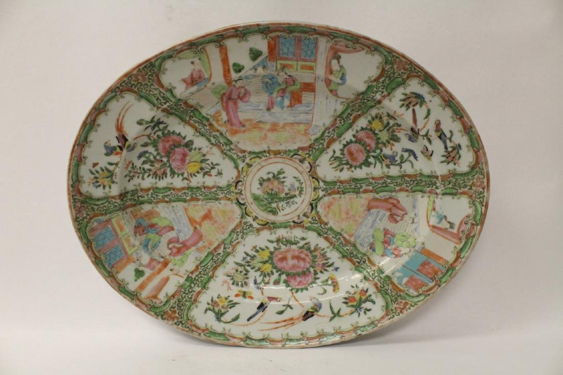 A large antique rose canton oval platter