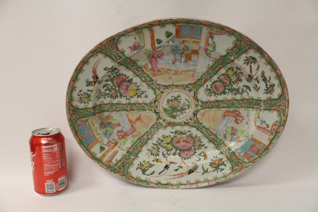 A large antique rose canton oval platter - 2