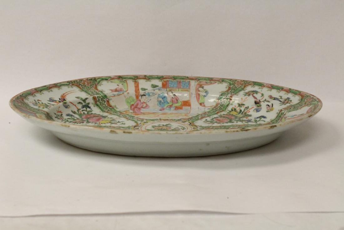 A large antique rose canton oval platter - 3