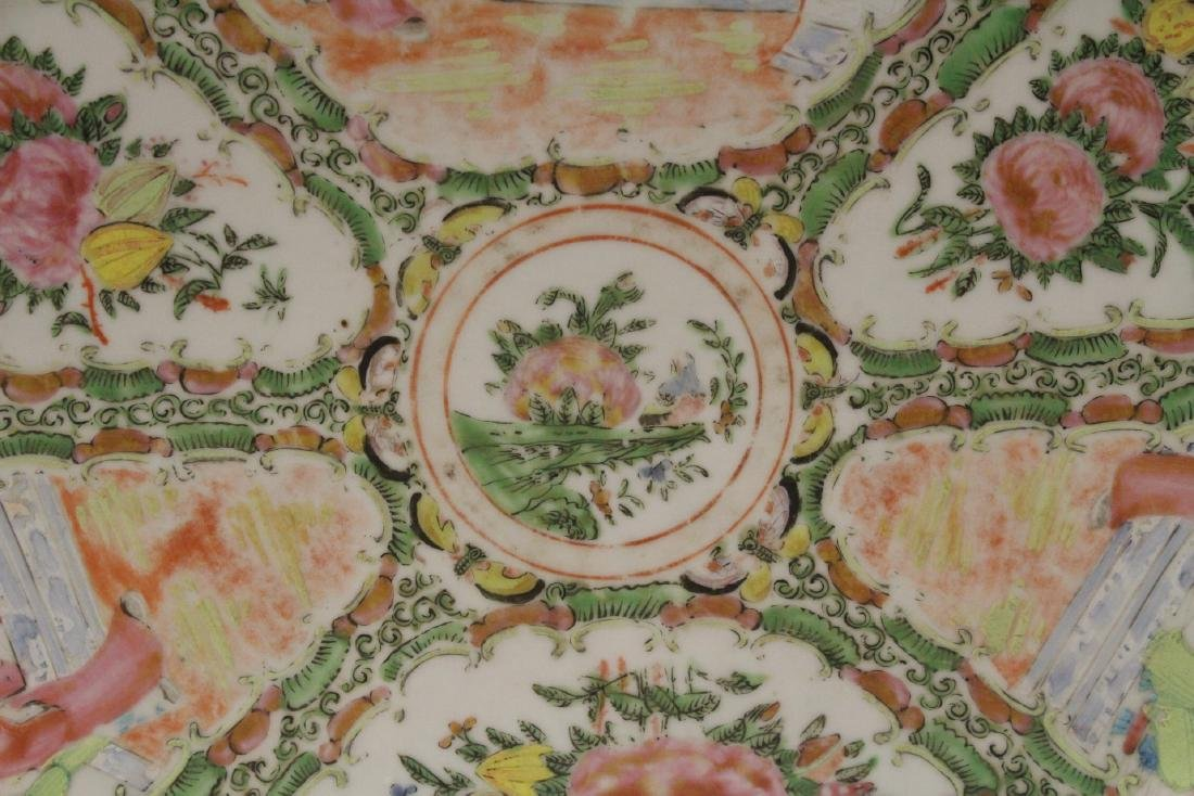 A large antique rose canton oval platter - 4