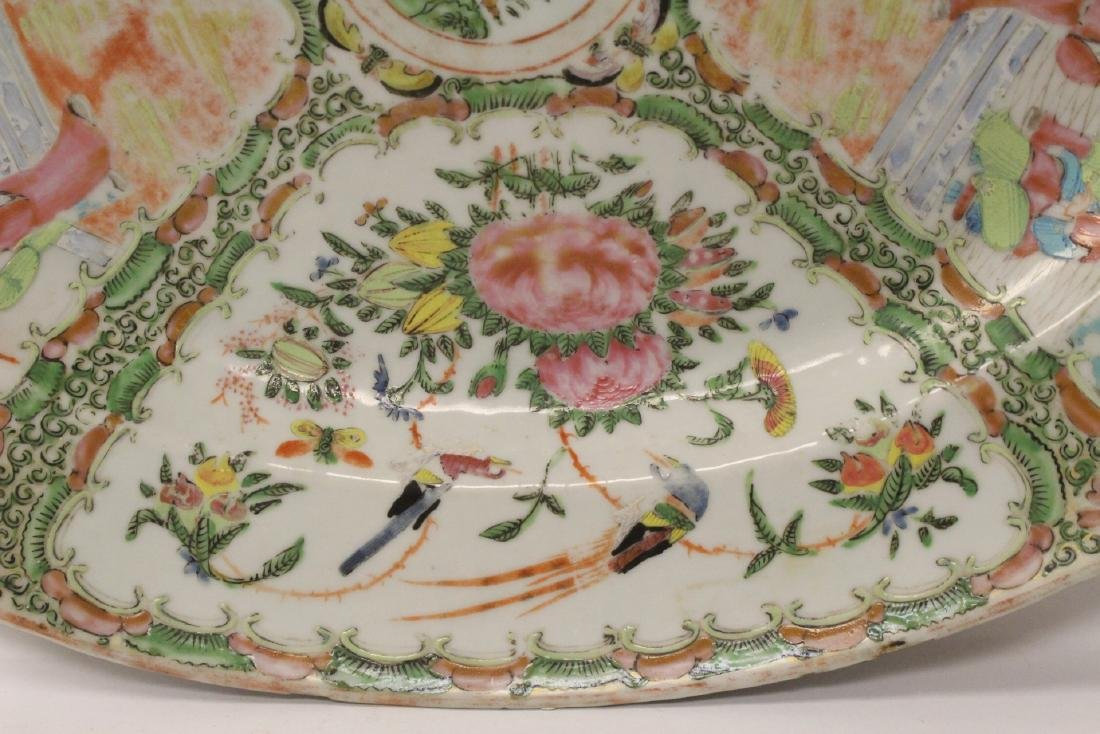 A large antique rose canton oval platter - 6