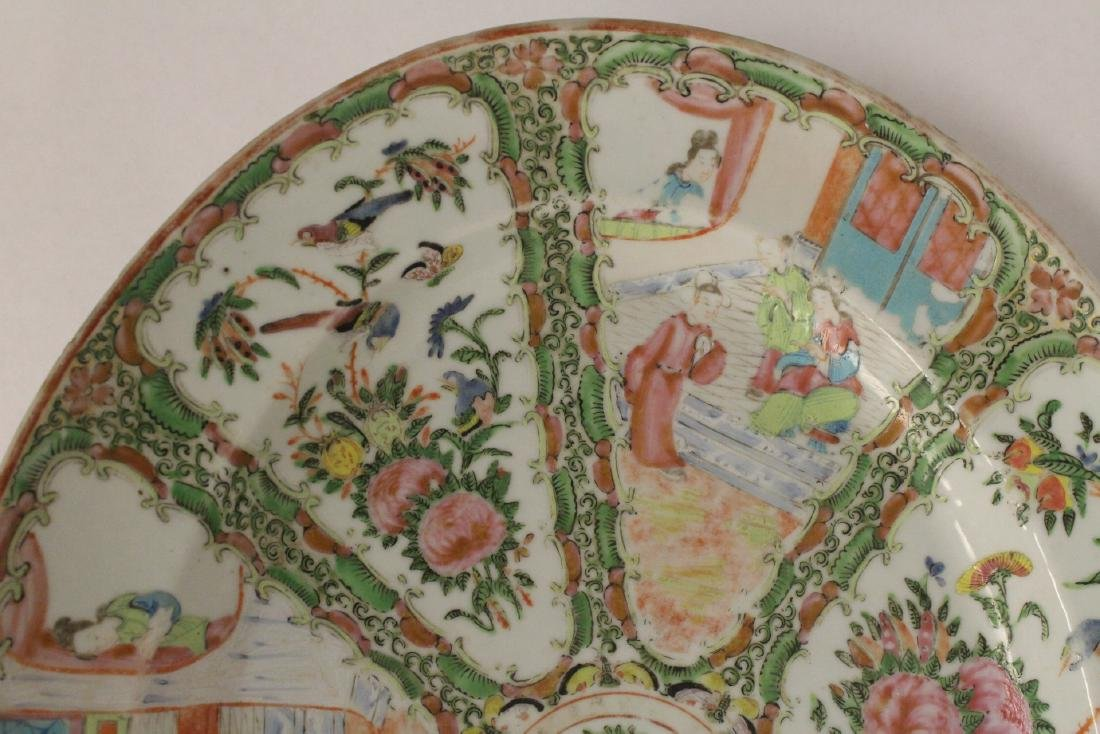 A large antique rose canton oval platter - 8