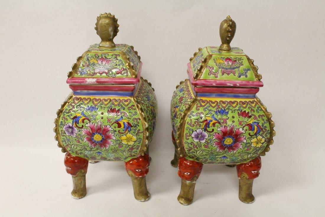 Pair beautiful famille rose porcelain censers