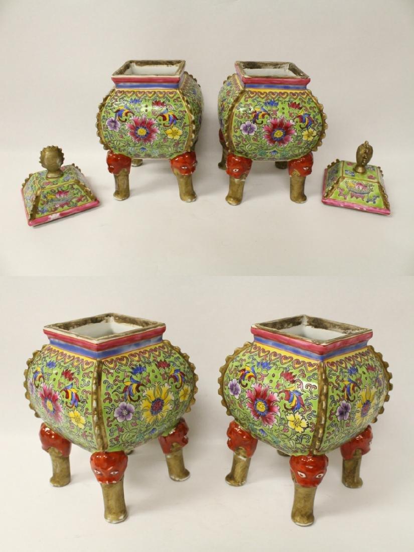 Pair beautiful famille rose porcelain censers - 2