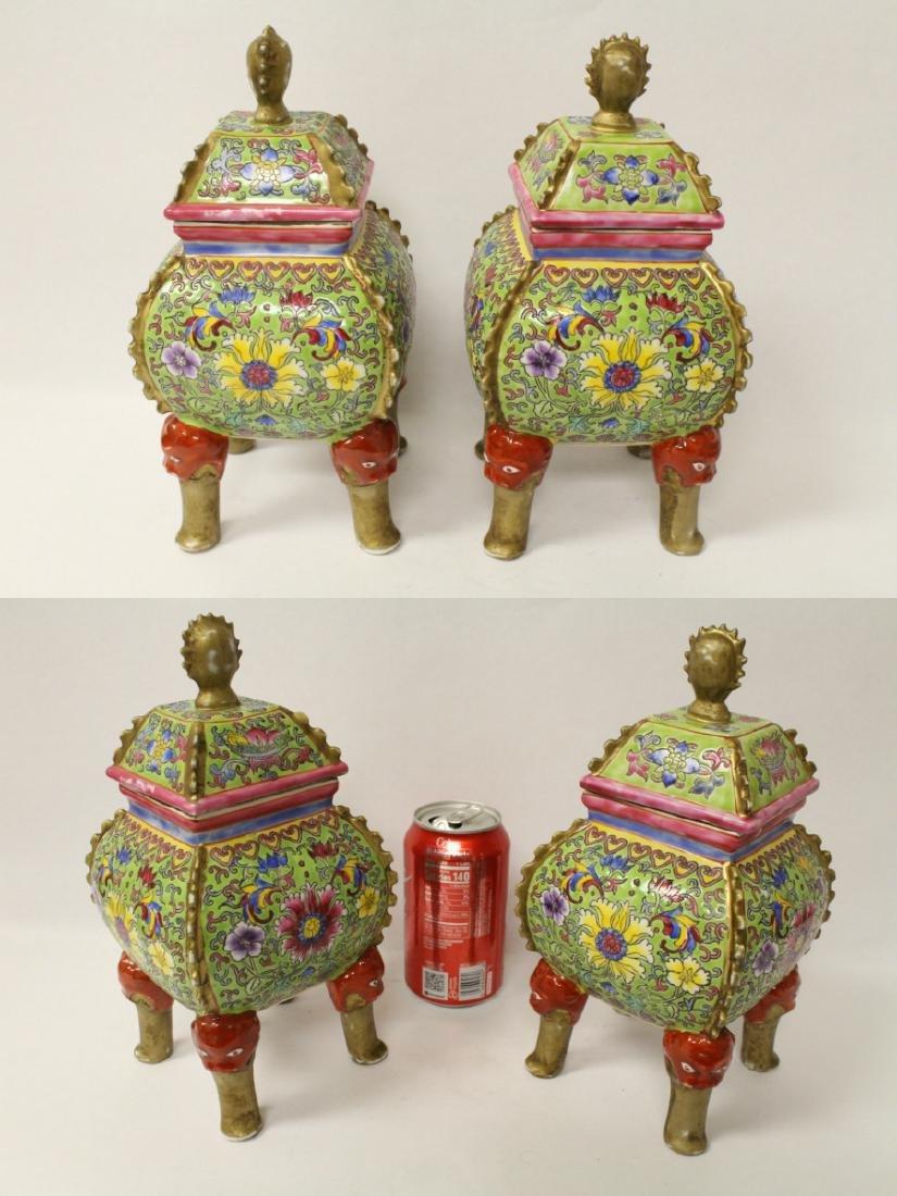 Pair beautiful famille rose porcelain censers - 3