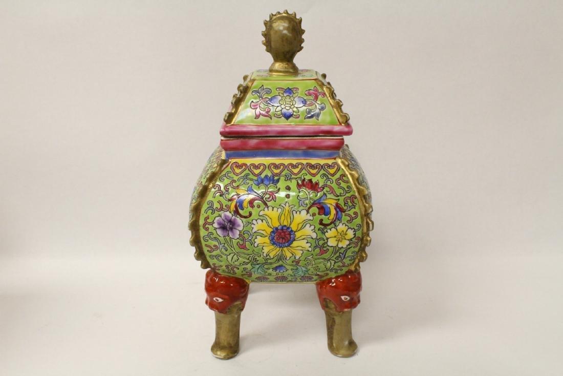 Pair beautiful famille rose porcelain censers - 4