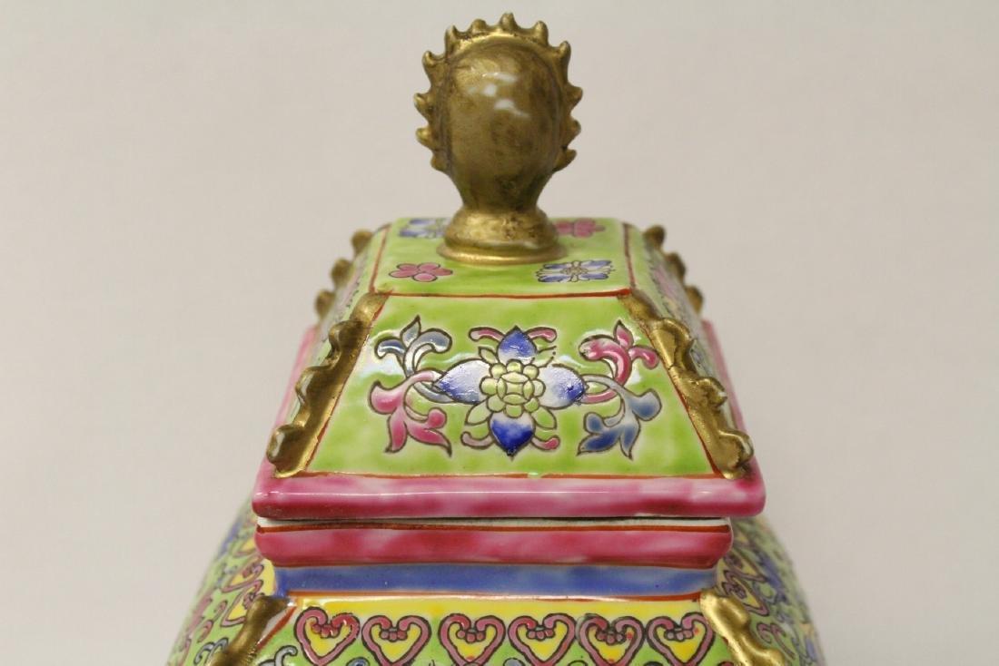 Pair beautiful famille rose porcelain censers - 6