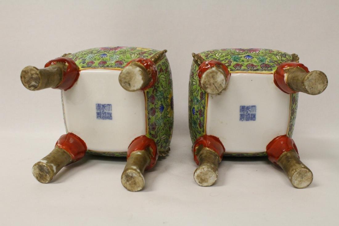 Pair beautiful famille rose porcelain censers - 9