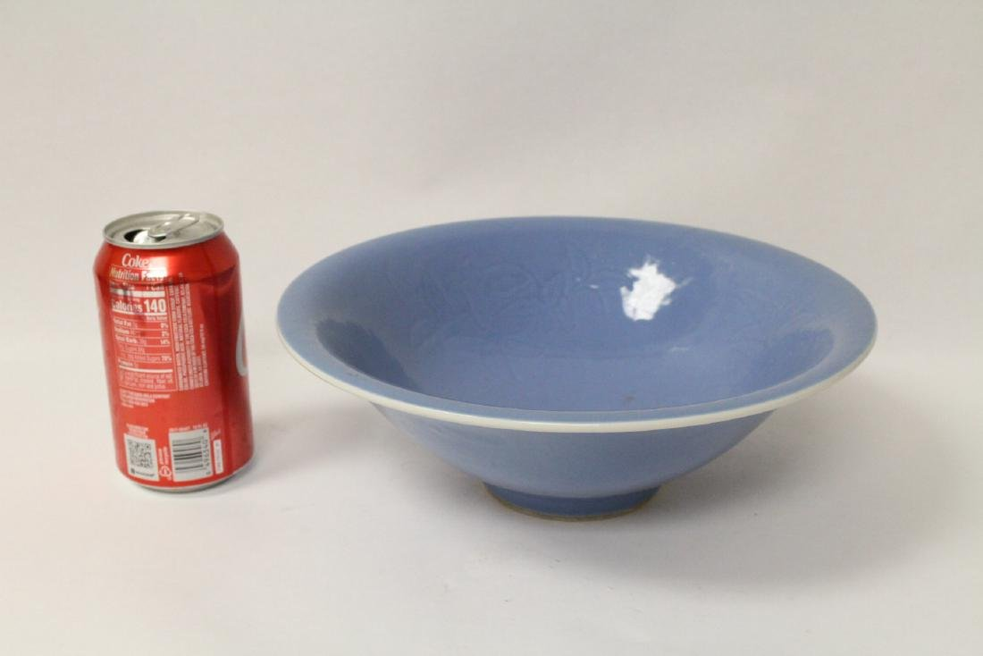 Chinese large blue glazed porcelain bowl - 2