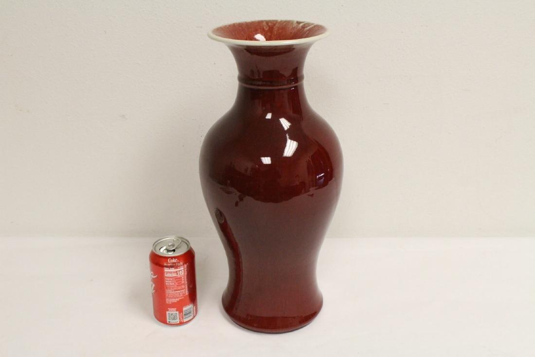 Large Chinese red glazed porcelain vase - 10