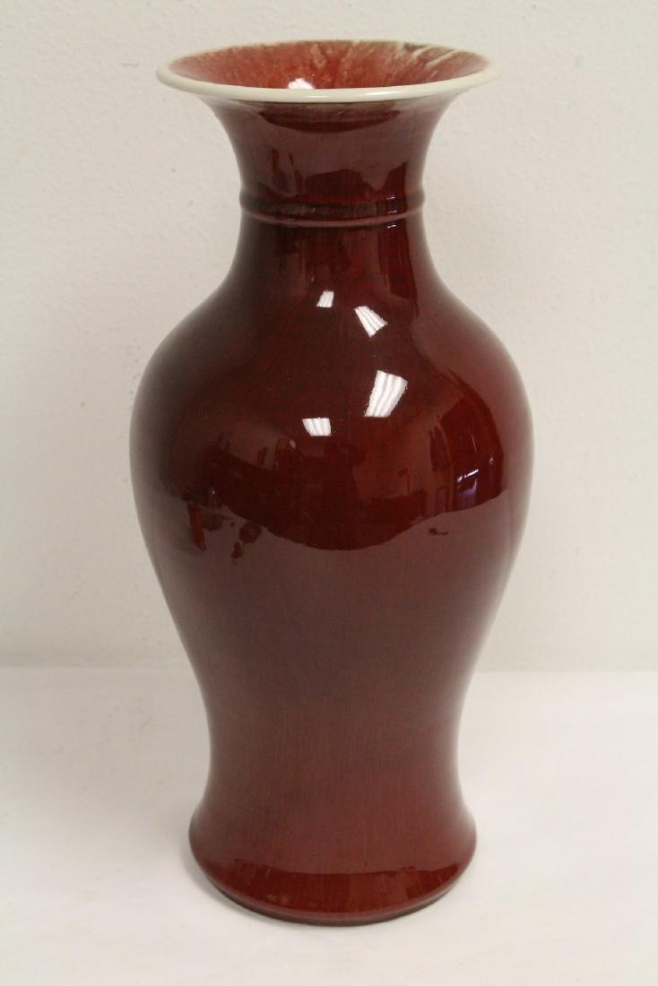 Large Chinese red glazed porcelain vase - 2