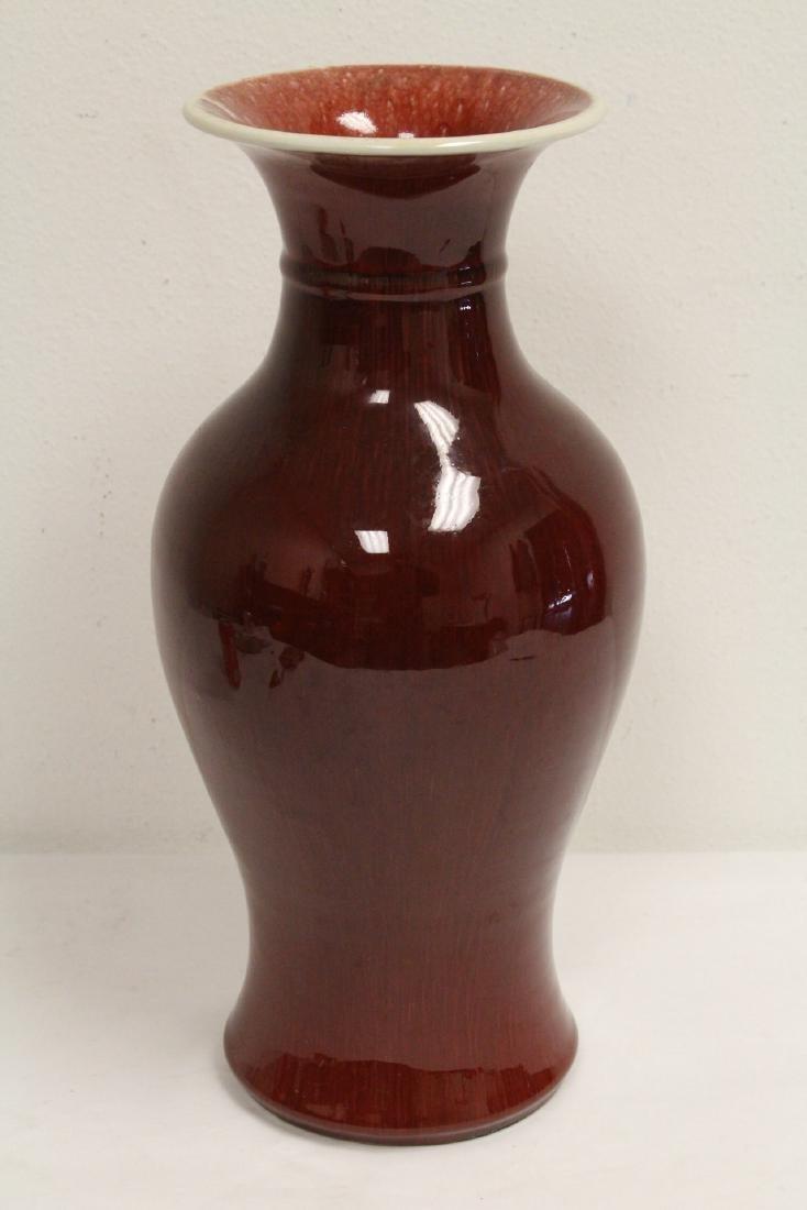 Large Chinese red glazed porcelain vase - 3