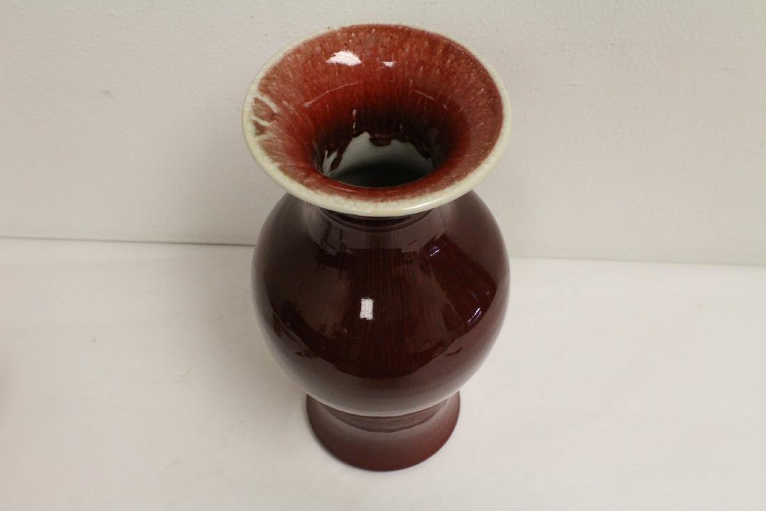 Large Chinese red glazed porcelain vase - 5