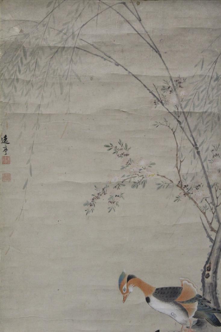 Chinese watercolor scroll depicting yuan yang - 3
