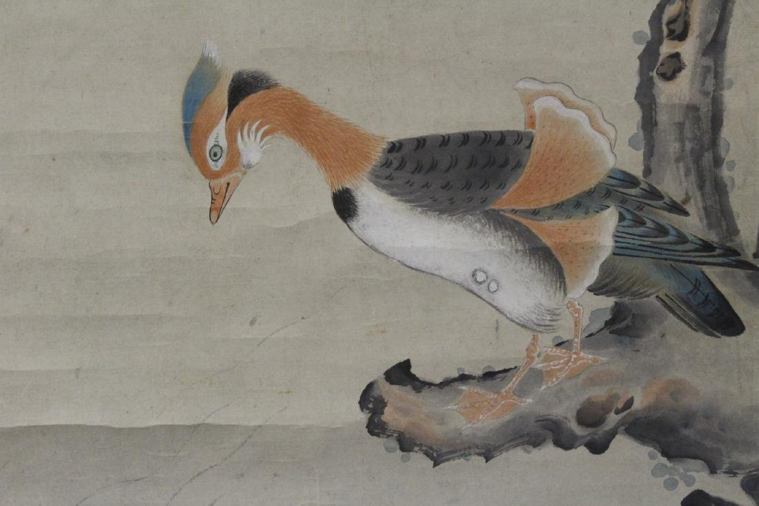 Chinese watercolor scroll depicting yuan yang - 4