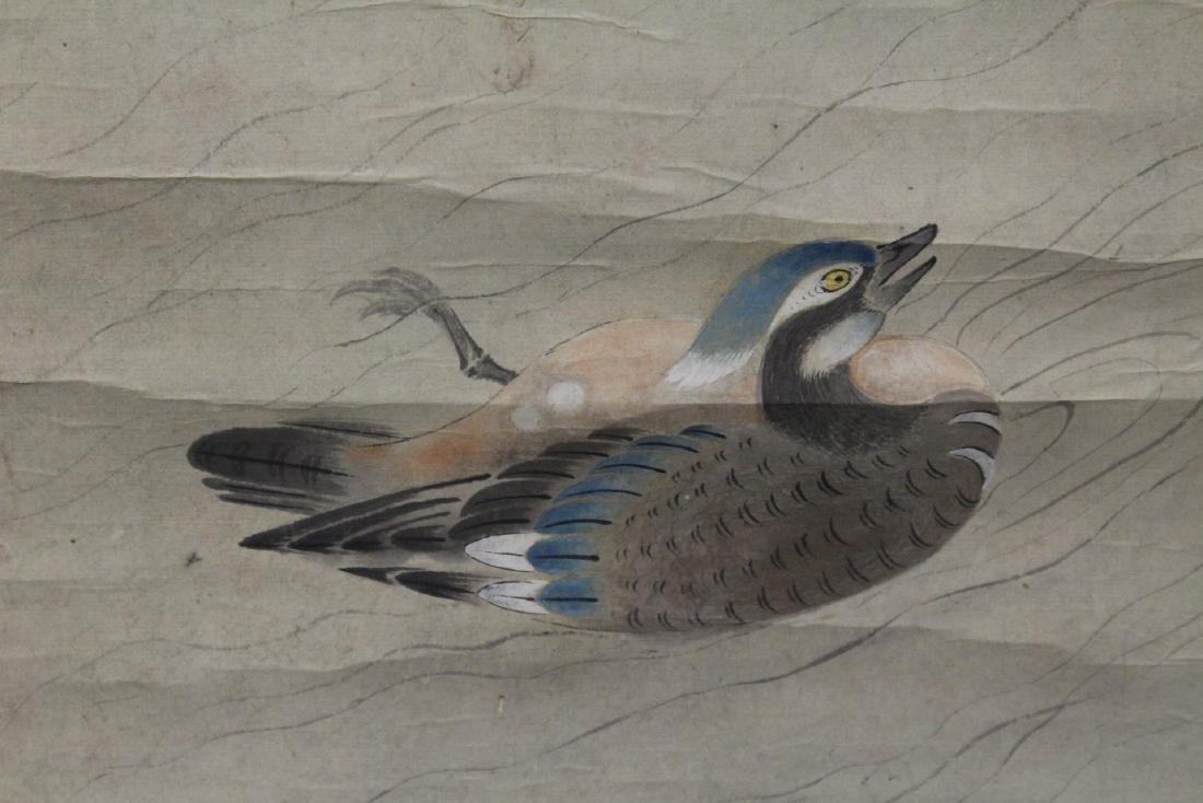 Chinese watercolor scroll depicting yuan yang - 5