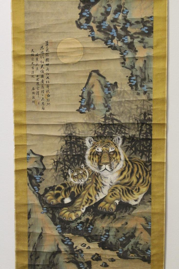 Chinese watercolor scroll depicting tigers