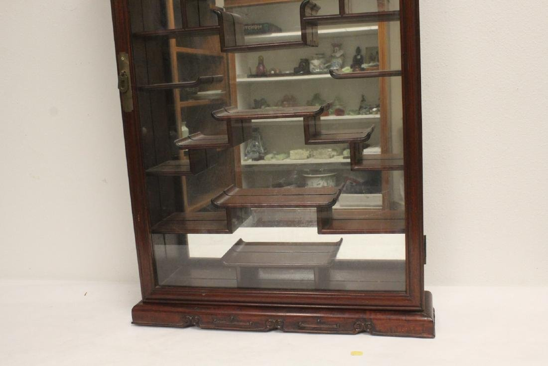 A rosewood wall hanging curio cabinet - 3