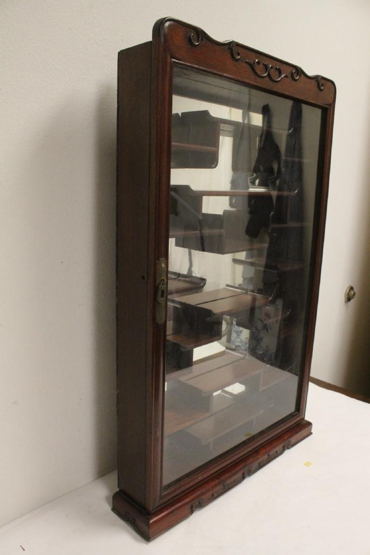 A rosewood wall hanging curio cabinet - 5