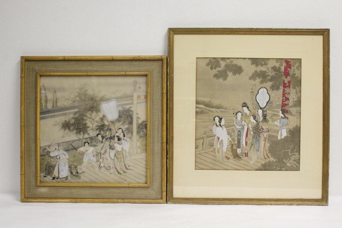 2 Chinese framed watercolor paintings