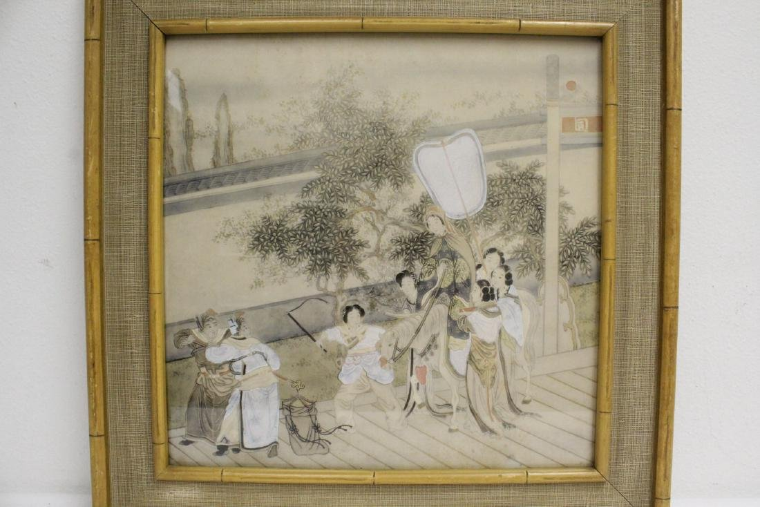 2 Chinese framed watercolor paintings - 7