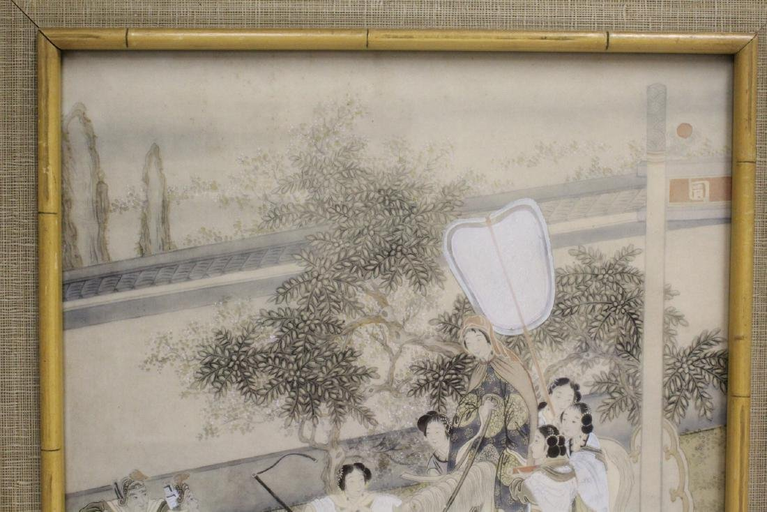 2 Chinese framed watercolor paintings - 8