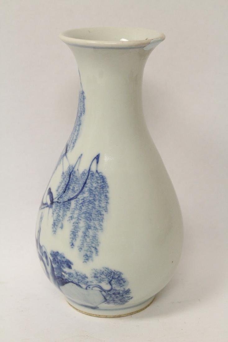 Chinese vintage blue and white porcelain vase - 2