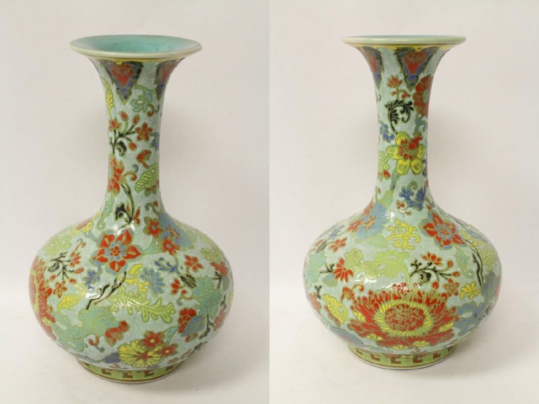 Chinese famille rose porcelain bottle vase - 3