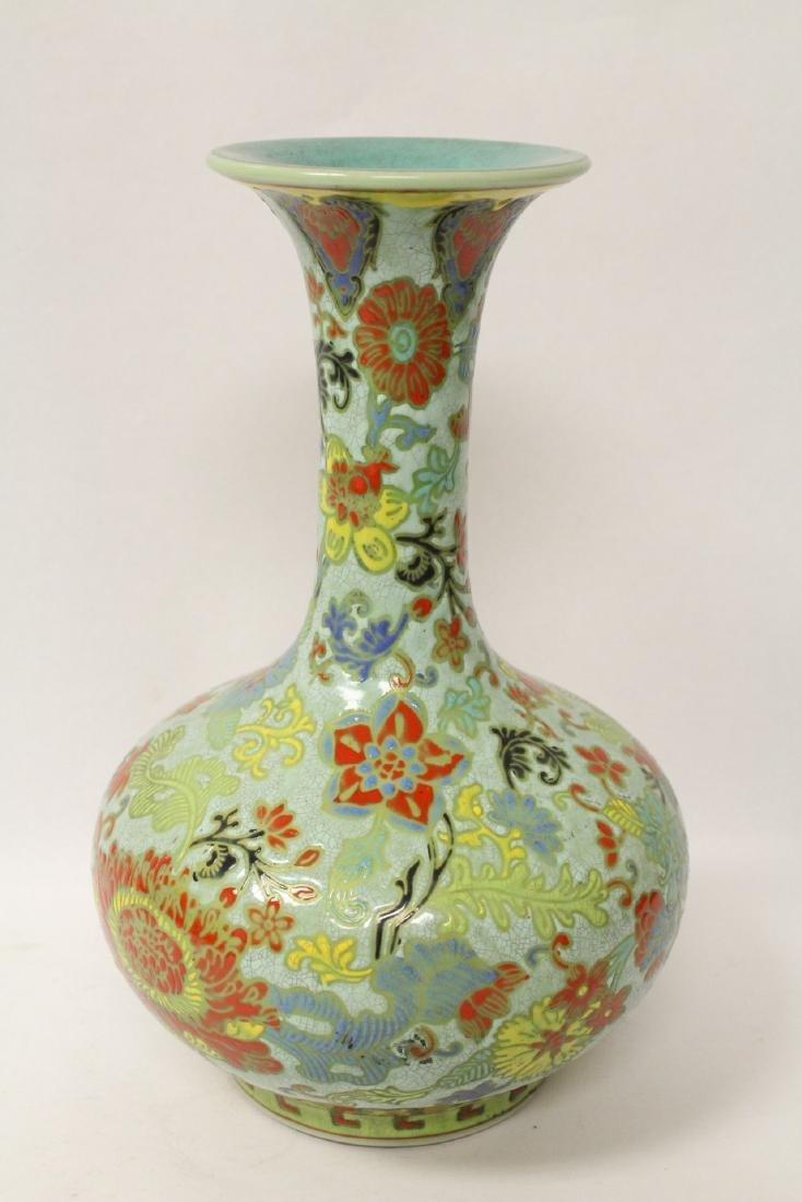 Chinese famille rose porcelain bottle vase - 4