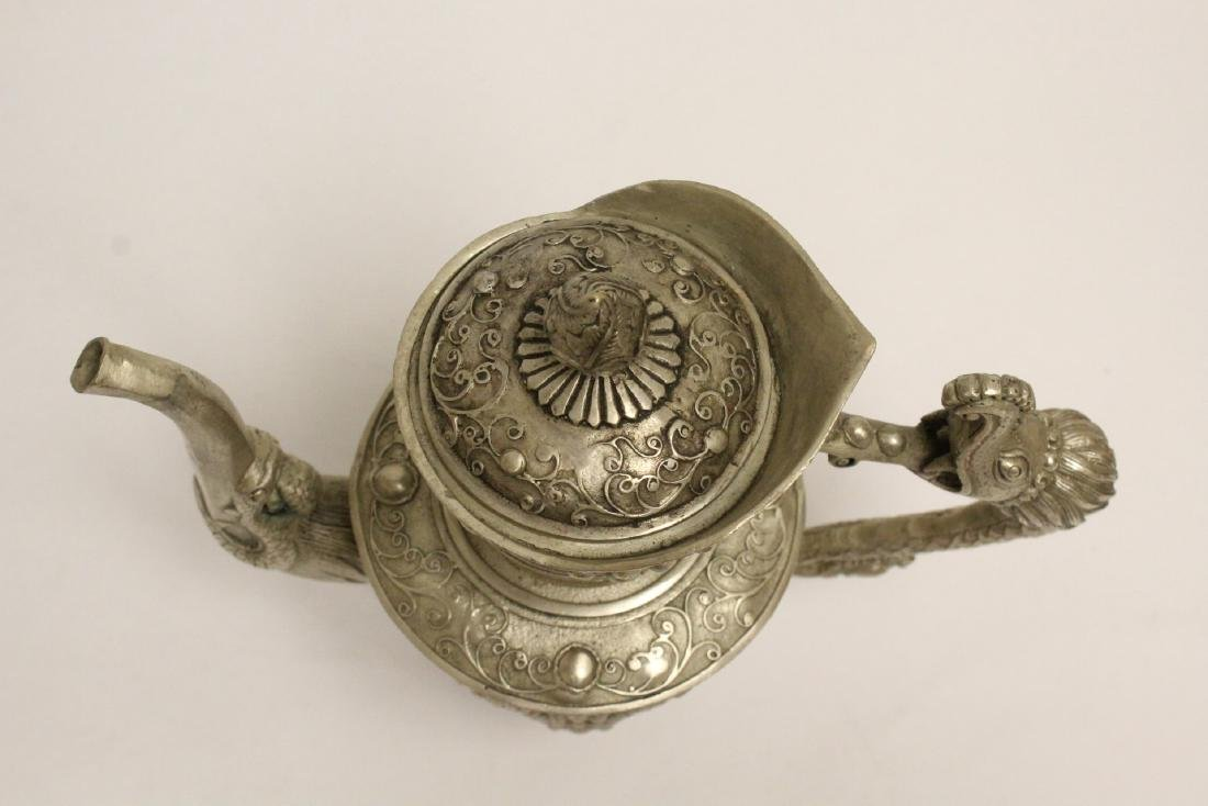 Silver on bronze wine server - 5