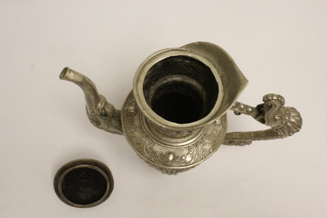 Silver on bronze wine server - 6