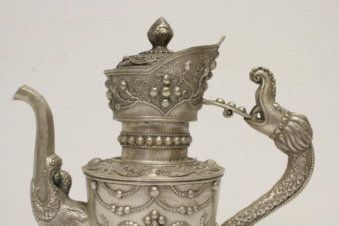 Silver on bronze wine server - 7