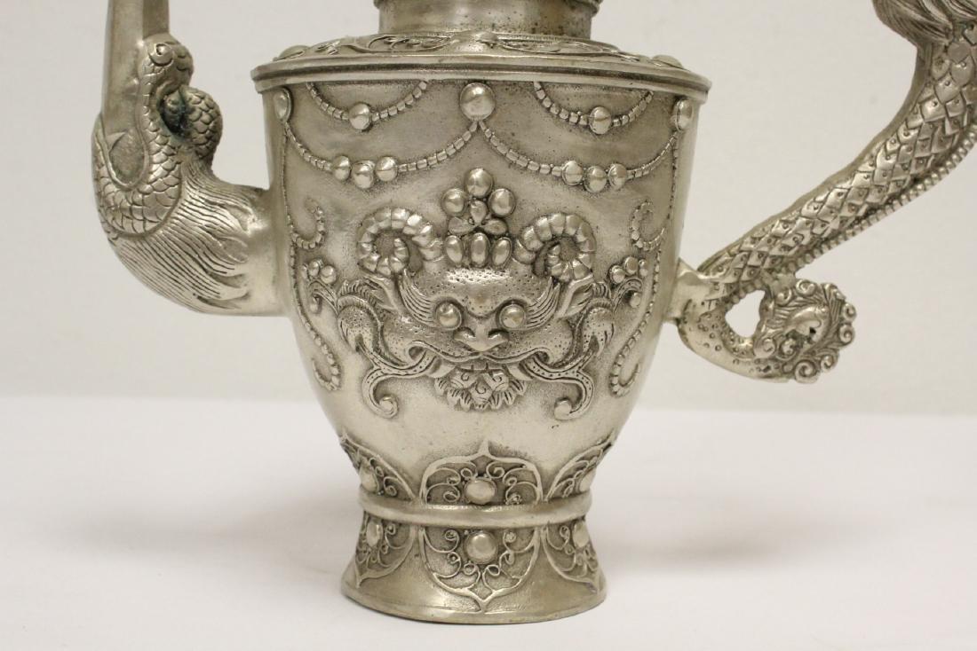 Silver on bronze wine server - 8