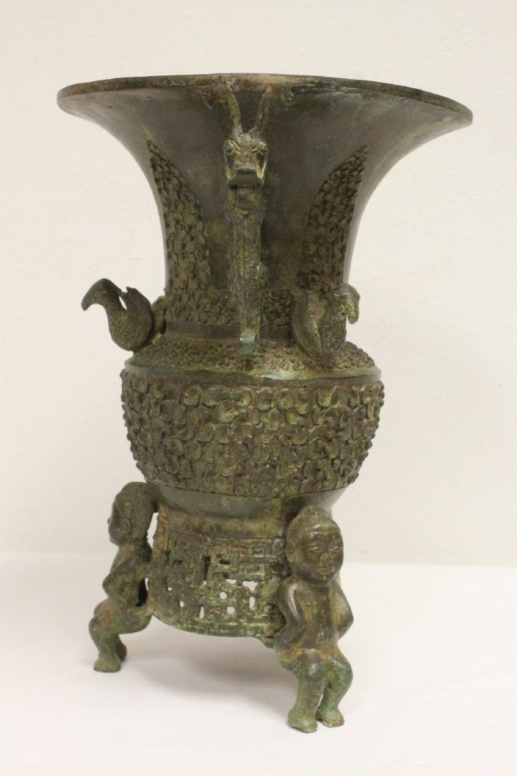 archaic style bronze jar with figural motif feet - 2