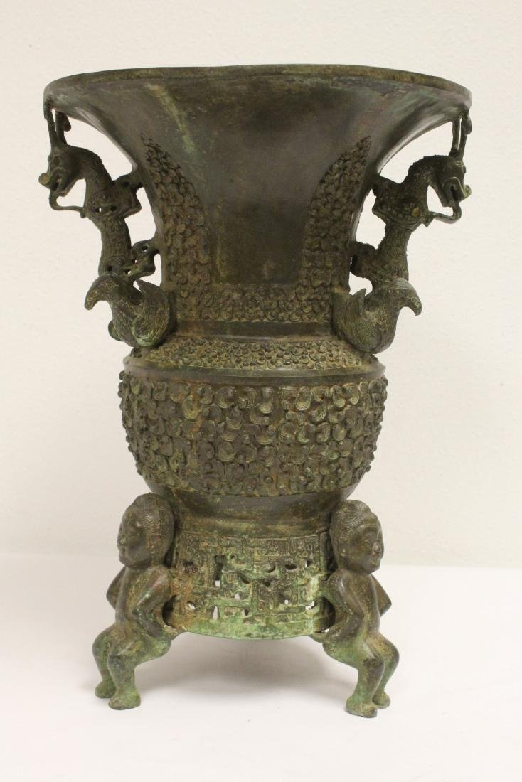 archaic style bronze jar with figural motif feet - 3