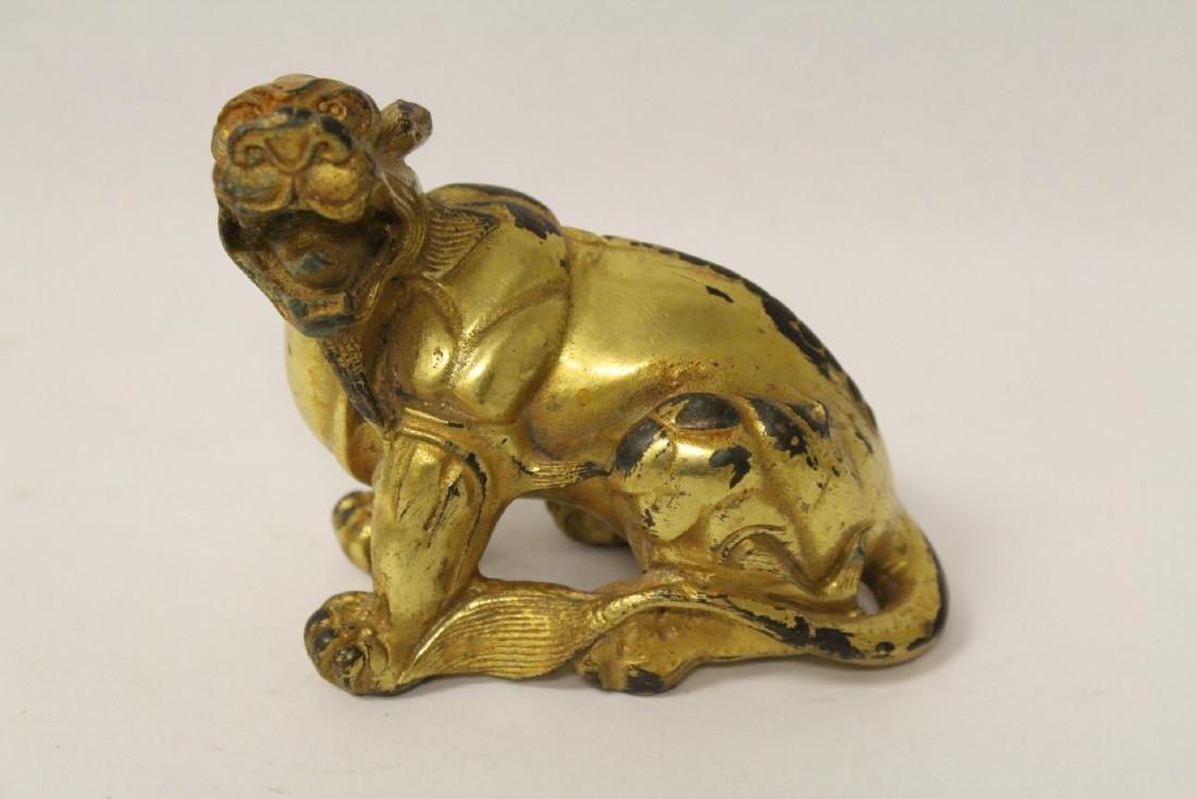 A gilt bronze qilin