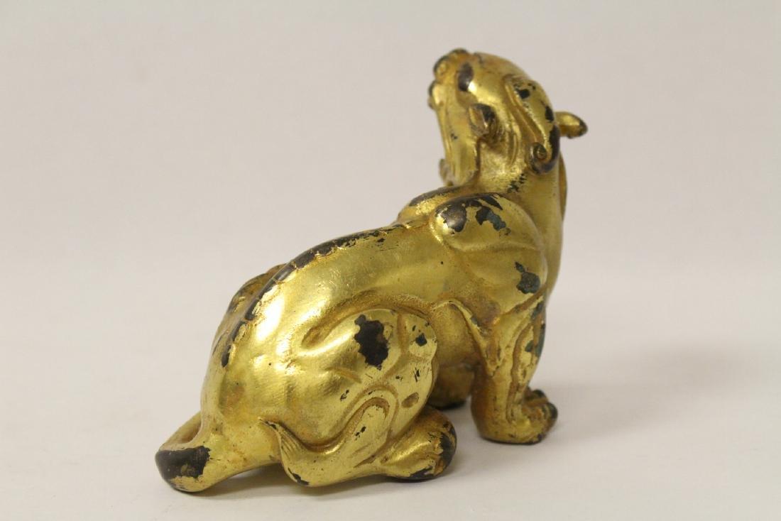A gilt bronze qilin - 4